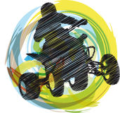 Sportsman riding quad bike. Sketch of Sportsman riding quad bike, made in adobe illustrator Stock Photography