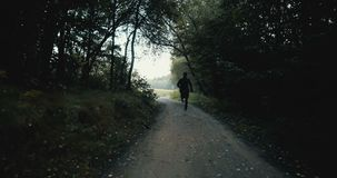 Sportsman running on dark autumn forest road. Young athlete on quiet autumn deserted pass. Cinematic drone back view. Sportsman running towards opening field on stock video