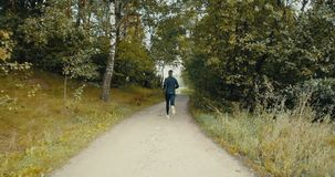 Sportsman running to a forest road opening. Drone back view. Sprinter enjoying quiet autumn countryside pathway. Sportsman running to a forest road opening stock video footage