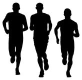 Sportsman running vector silhouettes. Marathon racers running. Royalty Free Stock Photos