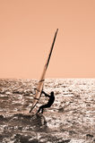 The sportsman on sailing board. Stock Photo