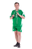 Sportsman with skipping rope Stock Photo
