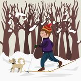 The sportsman on skis goes for a drive on a wood. Winter collection. royalty free illustration