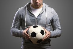Sportsman with soccer ball Royalty Free Stock Photo