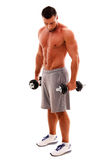 Sportsman standing with dumbbells Stock Image