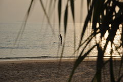 Sportsman on the surf. Sportsman on the Ko Lanta's shore Stock Photography