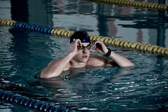 Sportsman in swimming pool Stock Photography