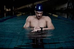 Sportsman in swimming pool Royalty Free Stock Photos