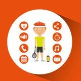 Sportsman tennis racket apps icons Stock Photo