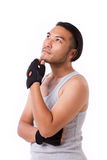 Sportsman thinking, looking up Stock Image
