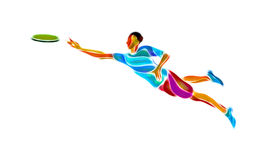 Sportsman throwing flying disc. Ultimate game Royalty Free Stock Photography