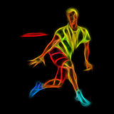 Sportsman throwing frisbee. Colorful illustration Royalty Free Stock Photos