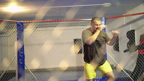 Sportsman training in a boxing cage 4K.  stock footage
