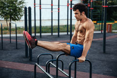 Sportsman training at crossfit ground. concept of sport Royalty Free Stock Photo