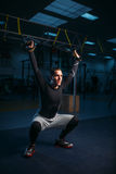 Sportsman on training,endurance workout with ropes Stock Image