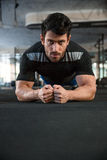 Sportsman on training. Sportsman wearing black t-shirt on training Royalty Free Stock Images