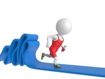Sportsman on treadmill. 3D little white sportsman running on treadmill Stock Images