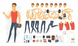 Sportsman - vector cartoon people character constructor. Isolated on white background. Set of body parts, emotions, sportive equipment for animation. Cheerful Stock Photography