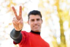 Sportsman victory symbol concept Stock Photo