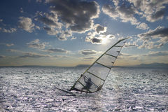 Sportsman on windsurfing Stock Photos