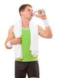 Sportsman With Towel Drinking Water From Bottle Isolated Stock Images