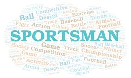 Sportsman word cloud. Wordcloud made with text only vector illustration