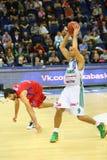 Sportsman from Zalgiris team prepares to throw basketball Royalty Free Stock Photo