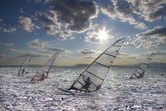 Sportsmans em windsurfing Fotografia de Stock