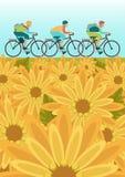 Sportsmans is riding bike on field. Sportsmans is riding bike on spring field Stock Photo
