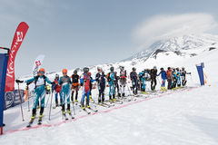 Sportsmans ski mountaineers at the starting line. Team Race ski mountaineering. Kamchatka, Russia. AVACHA AND KORYAK VOLCANOES, KAMCHATKA, RUSSIA - APRIL 27 Royalty Free Stock Images