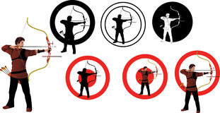 Sportsmen- arrows of modern archery. Vector Figure-athlete - shooter of modern archery options Stock Photography