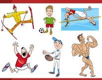 Sportsmen cartoon set Stock Images