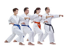 Sportsmen with different colors of belts beat punch arm on a white background Stock Images