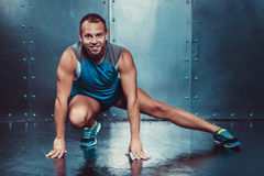 Sportsmen. fit male trainer man concept fitness workout strenght power. Stock Photos