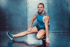 Sportsmen. fit male trainer man concept fitness workout strenght power. Royalty Free Stock Photos