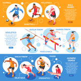 Sportsmen Isometric Horizontal Banners Royalty Free Stock Images