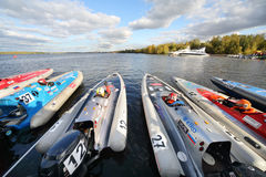 Sportsmen in motor boats at Powerboat Race Show 2012 Stock Photo