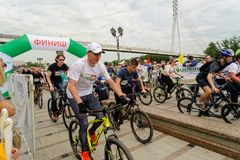 Sportsmen race on bicycles. Tyumen. Russia Royalty Free Stock Images