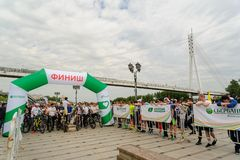 Sportsmen race on bicycles. Tyumen. Russia Royalty Free Stock Photography