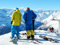 Sportsmen before the ride in Dombay - a downhill skiing resort in Karachayevo-Cherkesiya, Russia. Royalty Free Stock Image