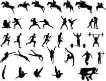 Sportsmen Silhouettes Stock Image