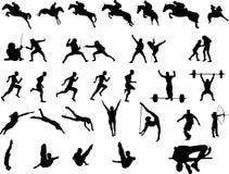 Sportsmen Silhouettes Stock Image