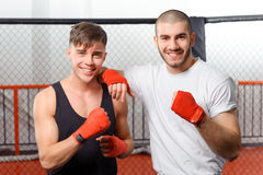Sportsmen training in a gym Stock Photography