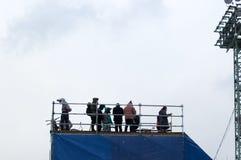 Sportsmen on trampoline Royalty Free Stock Photo