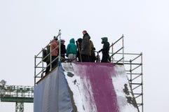 Sportsmen on trampoline. MOSCOW, RUSSIA - NOVEMBER 10, 2016: Unidentified sportsmen on trampolineon city event of open Winter game season on November 11, 2016 Stock Image