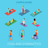 Sportsmen women yoga and exercise in gym icon set Royalty Free Stock Photos