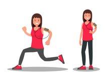 Sportsmenka podczas i po bieg Fotografia Royalty Free