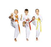 Sportsmens in karategi are beating kick mae-geri Royalty Free Stock Image