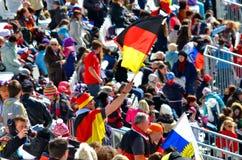 Sportspaßmann mit Staatsflagge von Deutschland Stockbild
