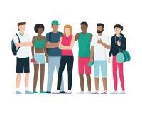Sportspeople grupp som tillsammans poserar royaltyfri illustrationer